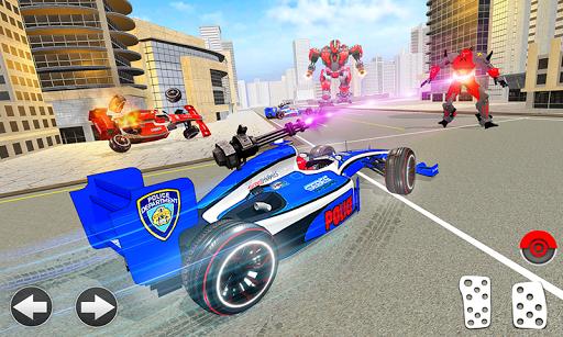 Police Chase Formula Car Transform Cop Robot Games screenshot 1