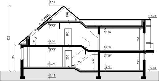 Dom przy Cyprysowej 37 - Przekrój