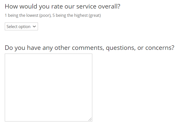 how would you rate us (1 to 5) with comment box