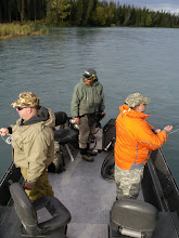 Photo: Running a trout drift out of a 20 ft power boat on the Kenai river.
