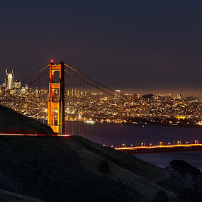 Big city lights by Torsten Funke - City,  Street & Park  Night ( golden gate bridge, bay, long exposure, night, golden gate, bridge, cityscape, bay area, san francisco, city, nightscape )