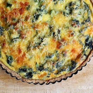 Nettle Quiche With Sesame Seed Crust.