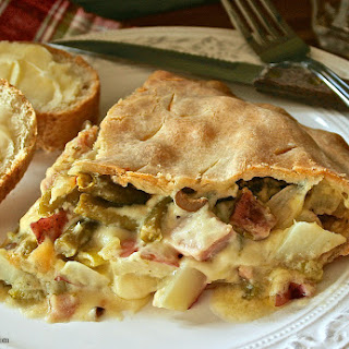 Cheesy Swiss Ham, Potato, Green Bean & Mushroom Pot Pie