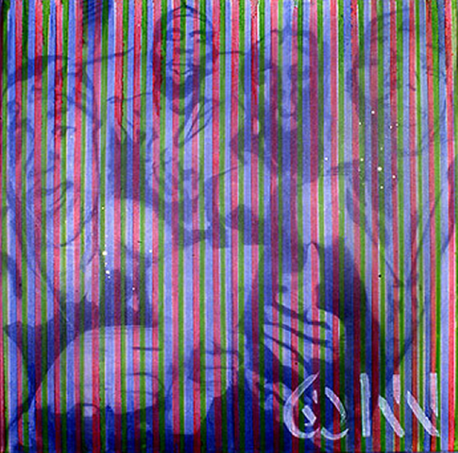 Photo: May All Your Dreams Come True (Holy Hot Boys) 2001 48 x 48 in oil, holographic pigment, diamond dust on canvas