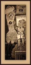 Photo: Antonio Berni Ramona y el anciano (o Ramona y el viejo) 1962. Xilocollage. Matriz xilográfica: 141,4 x 54,9 cm. Estampa: 149,2 x 62,9 cm. The Museum of Fine Arts, Houston, EE.UU. Expo: Antonio Berni. Juanito y Ramona (MALBA 2014-2015)