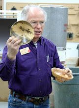 Photo: Phil Brown showing holly and burly maple bowls with a bit of a Stocksdale influence.