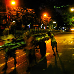 Busy ... even at night!!! by Hrijul Dey - People Street & Candids ( street scene, people, cart, night shot, transportation, labor, night photography )