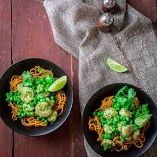 Sweet Potato Noodles with Shrimp and Cilantro Pesto.
