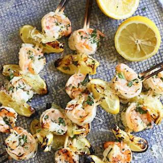 Grilled Shrimp Scampi Skewers.