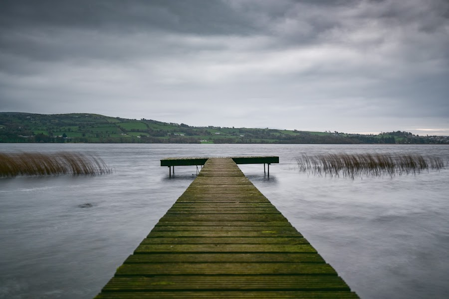 Lough Derg Fishing Stand by John Holmes - Buildings & Architecture Bridges & Suspended Structures ( ciold, could, winter, loughtderg, weathered, platform, morning, windy, pier, reeds, hills, wood, lake, fishing stand )