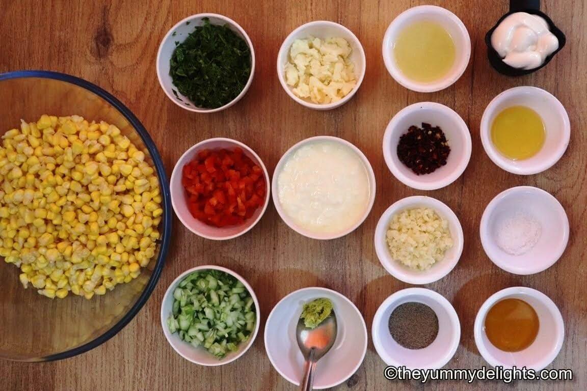 ingredients to make creamy corn salad recipe