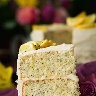 Lemon Poppy Seed Cake with Cream Cheese Frosting.