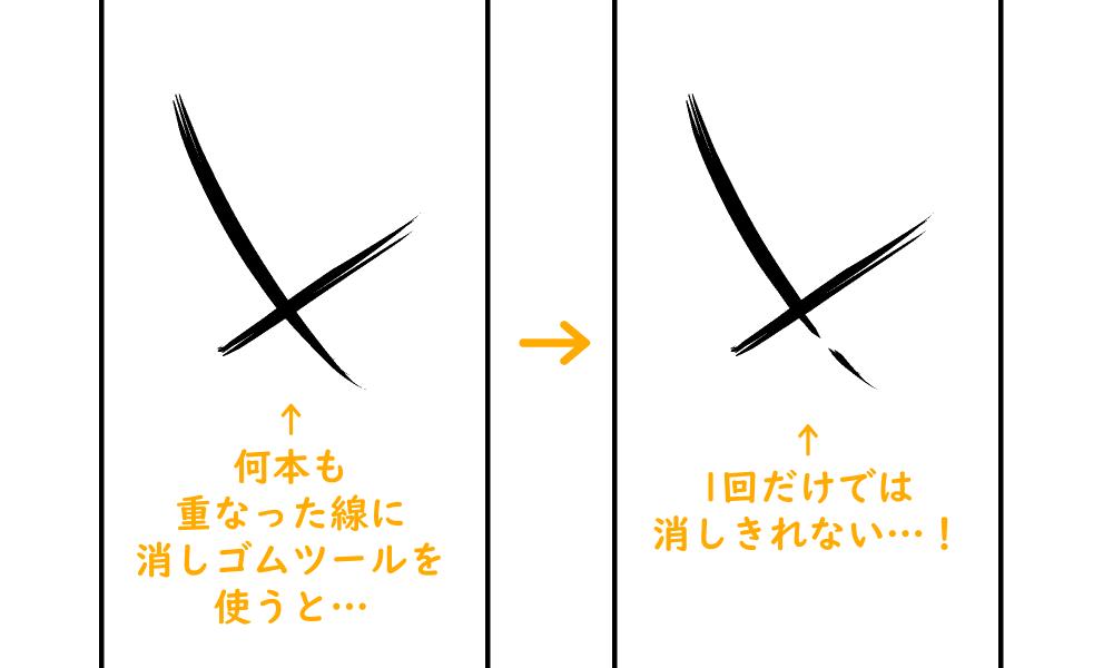 消しゴムツール:複数線