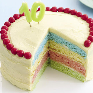 Rainbow Cake with Vanilla Frosting