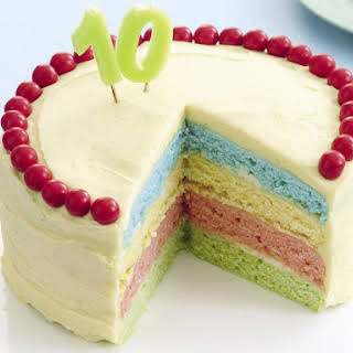 Rainbow Cake with Vanilla Frosting.