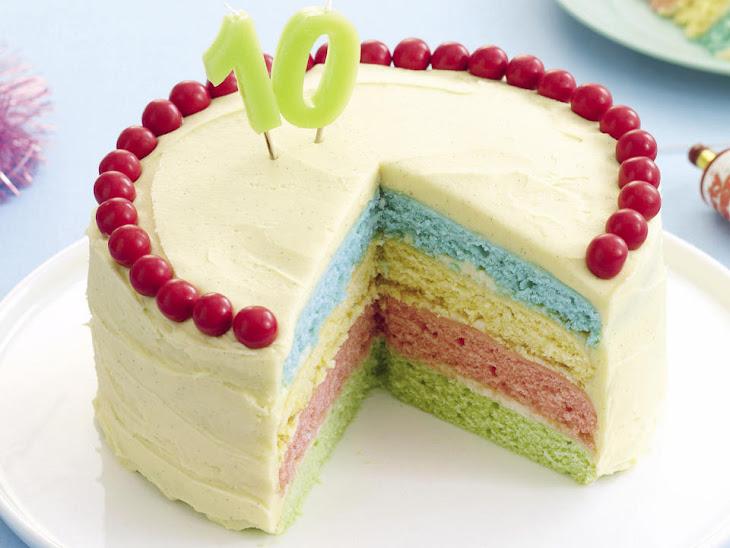 Rainbow Cake with Vanilla Frosting
