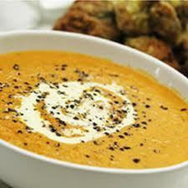 Combine sour cream, cinnamon and parsley, Serve the hot soup with a dollop of...