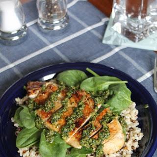 Pesto Chicken with Spinach & Wild Rice.