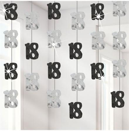 Hängande dekorationer - Svart & Silver 18