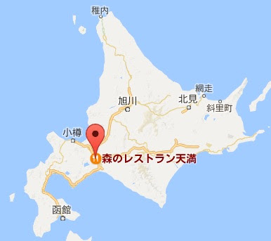 地図:森のレストラン天満(てんまん)