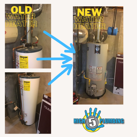before-and-after of a client's upgraded tank water heater, from smaller and old to larger and new