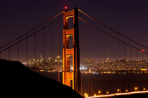 Golden-Gate-Bridge-closeup-night - We adore this closeup shot of San Francisco's Golden Gate Bridge at night.