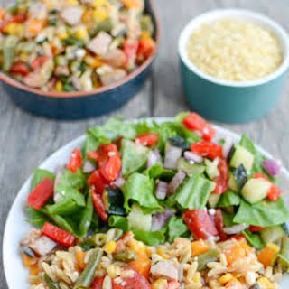 One Pot Orzo Pasta Salad with Chicken Sausage.