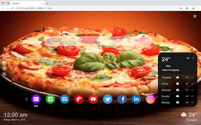 Pizza HD New Tabs Popular Foods Themes
