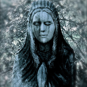 Lady of the Wood by Carl Testo - Black & White Objects & Still Life ( sculpture, wood, black and white, woman, lady )