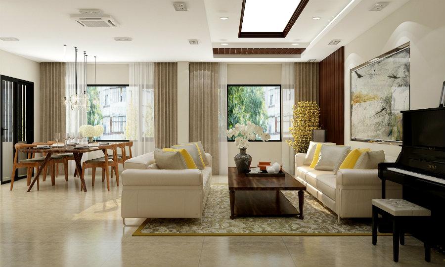 Thiết kế phòng khách và phòng ăn liên thông phong cách hiện đại