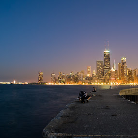 Chicago Blue Hour by Brad Kalpin - City,  Street & Park  Skylines ( lights, water, chicago, landscape, city )
