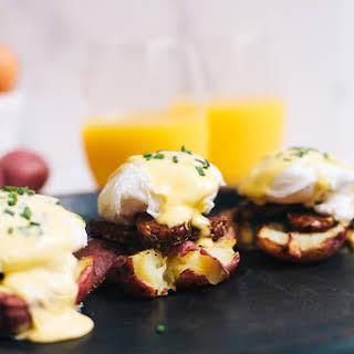 Smashed Potato and Smokey Tempeh Eggs Benedict.