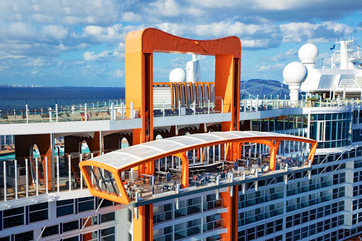 A closeup of Magic Carpet, the deck that takes you for a ride and turns into an al fresco venue on your Celebrity sailing.
