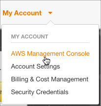 AWS Management Console is selected on the My Account drop-down menu.