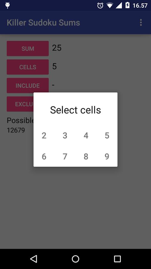 Android app killer sudoku combinations