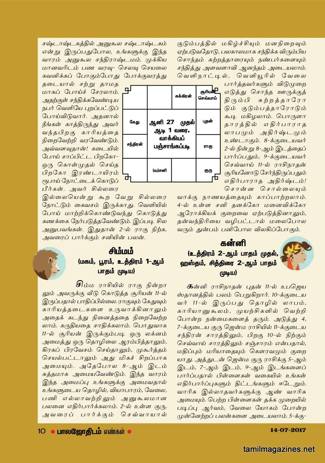 Balajothidam Raasi Palan July 11-17, 2017