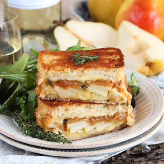 Caramelized Onion Pear Grilled Cheese Sandwich.