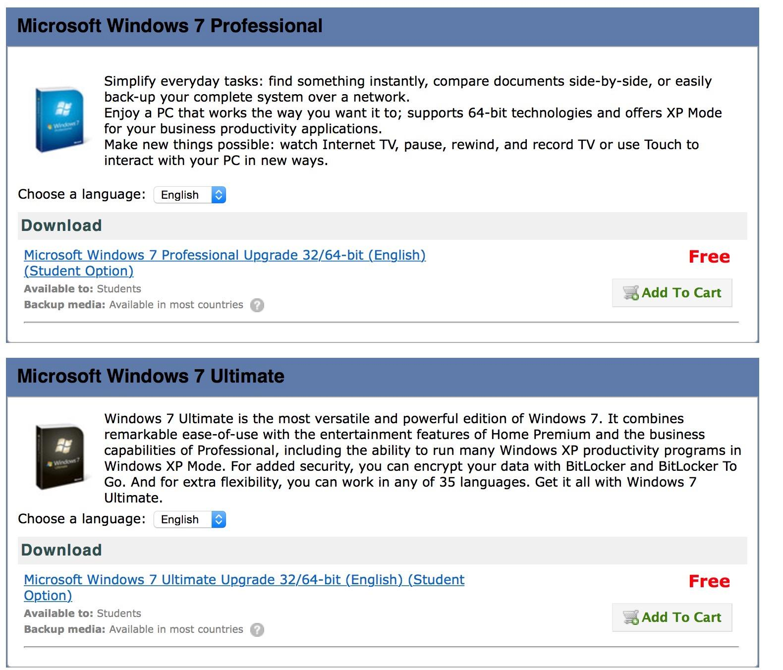 microsoft windows 7 free download for students