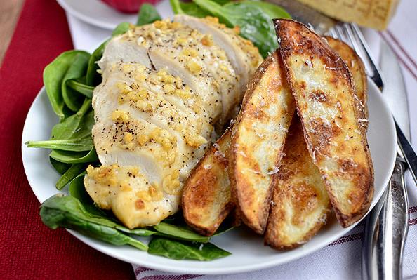 Parmesan-Garlic Chicken with Roasted Potato Wedges Recipe