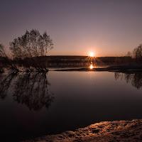 tramonto sul po di