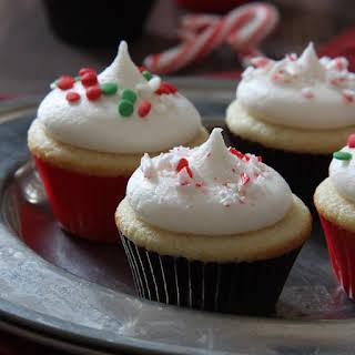 Mini Vanilla Cupcakes with Peppermint Buttercream.