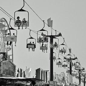 Somethings Never Change by Jon Hurd - City,  Street & Park  Amusement Parks ( gondola, amusement park, black and white, amusement, carnival, ferries wheel, exhibition, midway )