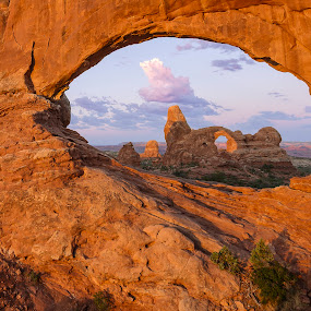 Arches Sunrise by Jeff Fahrenbruch - Landscapes Mountains & Hills ( national park, arches national park, utah, arches np north window arch, arches np turret arch )