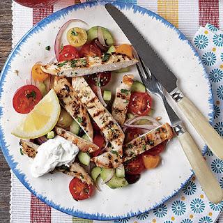 Chicken Horiataki Salad with Tzatziki