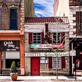 Tucked Away by Richard Michael Lingo - City,  Street & Park  Street Scenes ( city, street scene, restaurant, cincinnati, ohio )