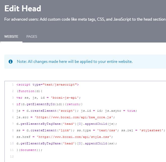 script html edit head