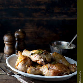 Bay Leaf Chicken Drumsticks with Tarragon Pan Sauce