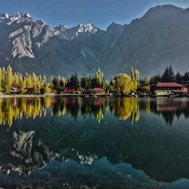 Shangrila Lake by Riaz Paras - Landscapes Mountains & Hills ( pakistan, mountains, riaz-paras, nature, autumn, asia, lake, shangrila-lake, baltistan,  )