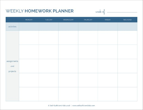 weekly homework planner - help your kids plan their homework each week with this planner