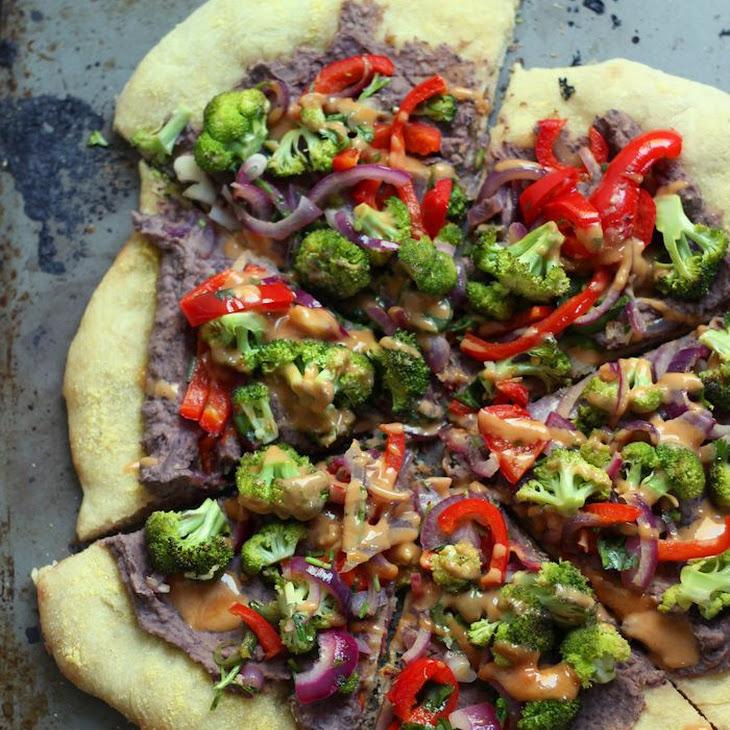 Vegan Roasted Veggie & Black Bean Mexican Pizza Recipe